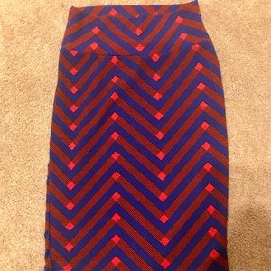 💕Lularoe Cassie Stretchy Pencil Skirt Blue Red XS